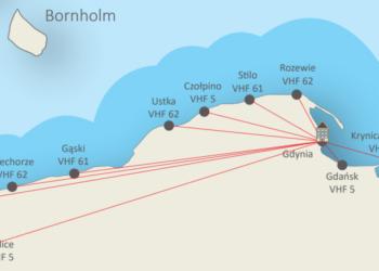 Mapa stacji radiowych morskiego systemu bezpieczeństwa na morzu GMDSS Polish Rescue Radio