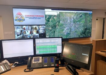 Stanowisko kierowania Straż Pożarna Rzeszów - konsola dyspozytorska Elvys